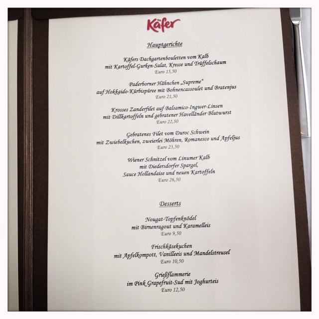 Kaefer Restaurant im Reichstag - die Hauptspeisen